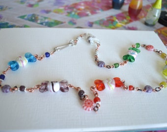 Glass Candy Bead Necklace With Handmade Copper Chain