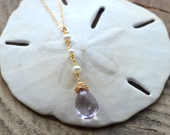 Brazilian Amethyst Gemstone Necklace- Light Purple Stone Necklace- Pearl Neckace- February Birthstone Necklace
