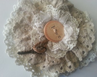 Rustic Shabby Chic mori girl hair clip and brooch