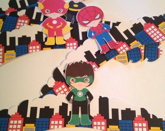 Super Heroes Cupcake Wrappers x12