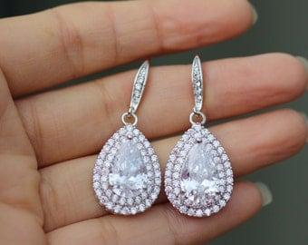 bridal jewelry zirconia earring wedding earring bridal earring bridesmaid earring drop earring
