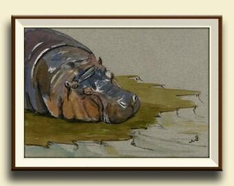 PRINT-Hippo sleeping african print of watercolor art hippo- african decor safary nursery  - Art Print by Juan Bosco
