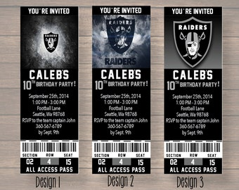 Oakland Raiders, Custom Party Ticket Invitations, Birthday Invitation, Oakland Raiders Birthday Ticket, digital file