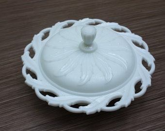 Milk glass candy dish with lid by Imperial Marks Co. // Vintage white glass bowl with lid // cottage chic