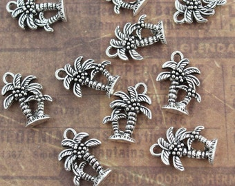 10 Coconut Palm Tree Charms Coconut Palm Tree Pendants Antiqued Silver Tone Double Sided 12 x 15 mm