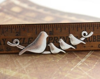 5 Bird Connector Charms Antiqued Silver Tone 66 x 25 mm