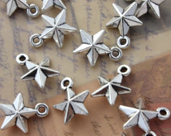 10 Star Charms Star Pendants Antiqued Silver Tone Double Sided 12 x 12 mm