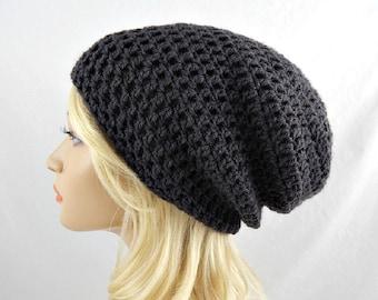 Dark Grey Slouchy Beanie, Crochet Slouchy Hat, Slouchy Winter Hat, Crochet Beanie, Crochet Hat, Womens Beanie, Oversized Hat, Slouch Hat