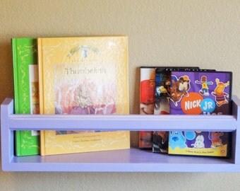 Book or Magazine Shelf-Lavender or Medium Purple-Nursery or Kids Decor