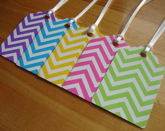 Gift Tags - Qty: 10 - Chevron -  Rainbow - Treat Tags - Hang Tags - Party Favor Tags