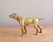 RESERVED // Vintage Brass Dog Figurine / Brass Hunting Dog Collectible