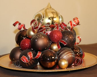 Christmas Centerpiece - Gold, Red, and Chocolate Holiday Decoration
