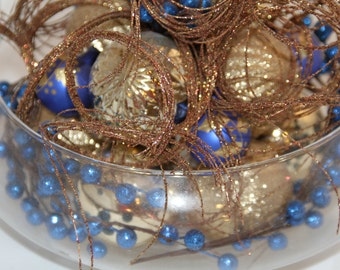 Christmas Centerpiece - Sapphire and Gold Holiday Decor