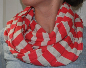 coral + heather oatmeal striped jersey knit infinity scarf