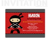 Ninja Invitation, Ninja Birthday Party Invitations, personalized thank you cards, birthday invitations, party invitations / No.408