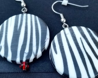 Zebra Print With a Hint of Red Earrings - Hypoallergenic
