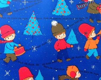 Vintage Christmas Wrapping Paper - Rum Pa Pum Pum Drummer Boys Musical Parade - Blue Christmas - 1 Unused Full Sheet Christmas Gift Wrap