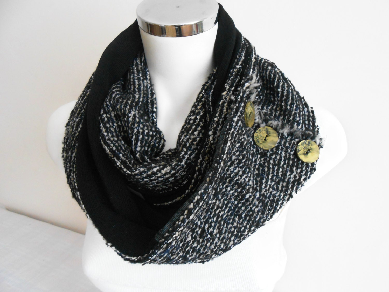 handmade s scarf black and white scarf circle