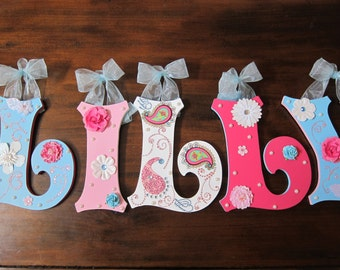 "CUSTOM - ""Storybook Font"" 8.5"" - Wooden Wall Hanging Letters for Nursery or Childs Room- Pink and Blue Paisley"