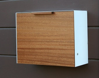 Modern Mailbox Large, Mahogany and Stainless Steel Mailbox, Wall Mounted mailbox