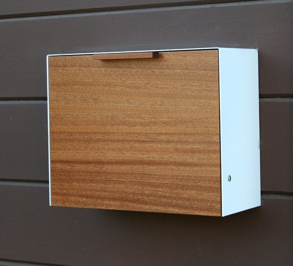 Modern Mailbox Large Mahogany And Stainless Steel Mailbox
