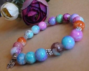 Stretchy bracelet.Multicolored bracelet.Bead bracelet.Agate bead bracelet.