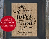 All of Me Rustic Wedding Fancy Scroll Personalized Burlap LOVE SONG Art Wedding Anniversary house warming gift