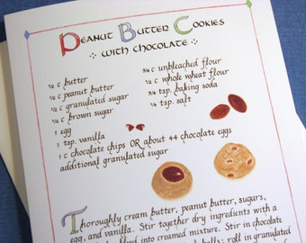 Recipe -- Peanut Butter Cookies with chocolate -- 5 X 7 Calligraphy Art Card, Greeting Card, Illustrated Food Card, Blank inside