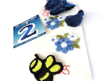 Blue Appliques, Patches, Iron-On, Flowers, Tassels, Bumble Bee, 2, Sewing Notions, Craft Supplies