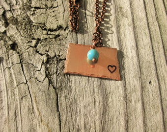 Copper North Dakota Necklace With Heart Hand Stamped Over Fargo~Choose Your City~Personalized