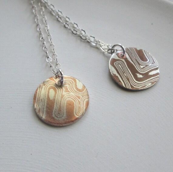 Mokume Gane Earrings: Mokume Gane Necklace / Silver And Copper Disc Necklace/ Mokume