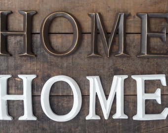 Distressed Antique White or Bronze HOME Letters Sign Family Wall Decor ~  Rustic Shabby Chic Decor