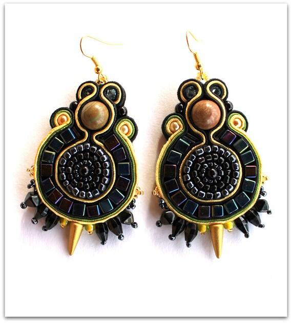 Rock Star soutache earrings, HANDICRAFT