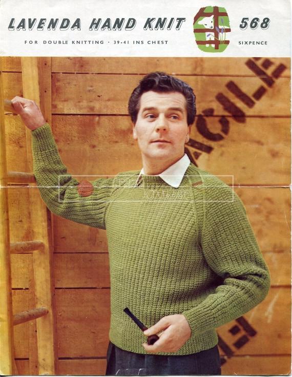 Men's Pullover DK 39-41in Lister 568 Vintage Knitting Pattern PDF instant download