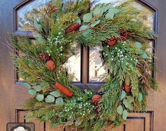 Artificial Cypress Wreath with Juniper Berry and pinecones - Winter Wreath - Christmas Wreath - Wreath - Front Door Wreath - Welcome Wreath