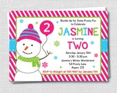 Girl Snowman Party Invitation - Winter Girl Birthday Party - Digital Design or Printed Invitations - FREE SHIPPING