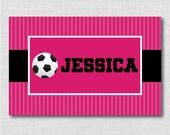 Custom Girl Soccer Placemat - Girl Soccer Placemat - DIGITAL DESIGN