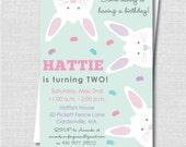 Peek a Boo Bunny Birthday Invitation - Pastel Easter or Spring Birthday Invite - Digital Design or Printed Invitations - FREE SHIPPING