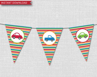 Cars and Trucks Pennant Flag Party Banner - Cars and Trucks Themed Party - INSTANT DOWNLOAD