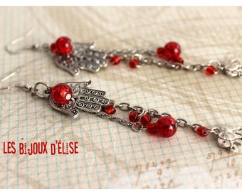 Red long Pendant Earrings with Elephant and Hamsa Charms Red Dangle Earrings Hands of Fatima earrings