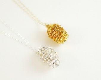 Silver Pine Cone Necklace, Real PineCone Necklace