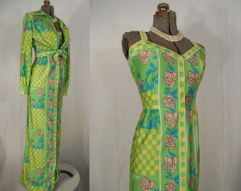 Vintage 1960s Dress - 60s Chartreuse Green Summer Boho Maxi Dress Set by Vera Hicks