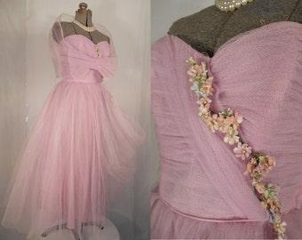 Vintage 1950s Prom Dress - Lilac Purple Strapless Corset 50s Formal Dress