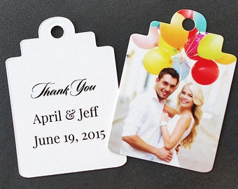 Wedding favor tags with personalized message and photo (Boutique Tags)