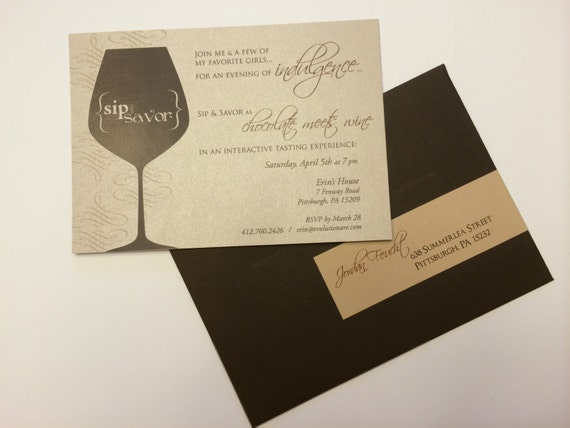 "Wine Party Invitation - a perfect compliment to the ""Sip & Savor: chocolate meets wine"" experience or a girls night! (Tier 2 Sip/Savor)"