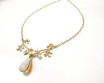 Gold branch pendant, Gold moonstone pendant, Gold branch necklace,  Delicate gold pendant, botanical necklace ,Tree branch necklace, 1487-MS