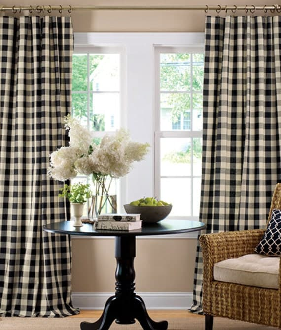 Curtains Ideas black and white panel curtains : Items similar to Buffalo Check Curtains. Black And White Small ...
