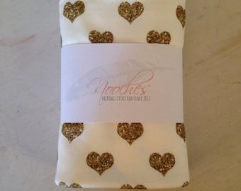 Gold Glitter Hearts - Organic Swaddling Blanket - modern baby blanket