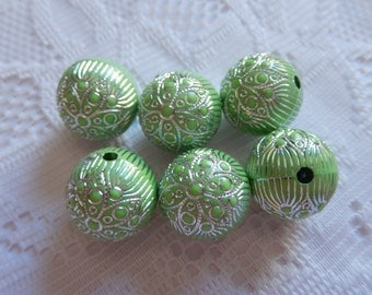 6  Lime Green & Silver Etched Ornate Round Acrylic Beads  18mm