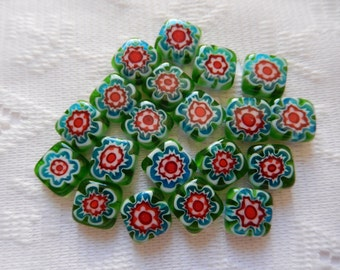 19  Green Red Blue & White Square Flower Millefiori Lampwork Glass Beads  13mm